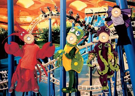 Jeff Koons, Bluepoles, 2000 Oil on canvas, 120 × 168 inches (304.8 × 426.7 cm)© Jeff Koons