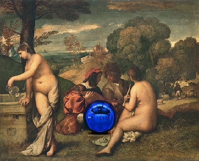 Jeff Koons, Gazing Ball (Titian Pastoral Concert), 2016 Oil on canvas, glass, and aluminum, 60 × 74 × 14 ¾ inches (152.4 × 188 × 37.5 cm)© Jeff Koons, photo by Fredrik Nilsen