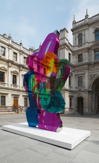 Jeff Koons Coloring Book, 1997–2005 Mirror-polished stainless steel with transparent color coating 222 × 131 1/2 × 9 1/8 inches (563.9 × 334 × 23.2 cm) 1 of 5 unique versions Installation at the Royal Academy, London © Jeff Koons