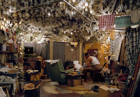 "Jeff Wall, After ""Invisible Man"" by Ralph Ellison, the Prologue, 1999–2001 Transparency in lightbox, 68 ½ × 98 ⅝ inches (174 × 250.5 cm)© Jeff Wall"