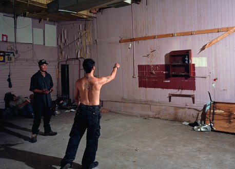 Jeff Wall, Knife throw, 2008 Color photograph, 72 ½ × 100 ⅞ inches (184 × 256 cm)© Jeff Wall