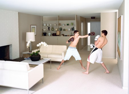 Jeff Wall, Boxing, 2011 Color photograph, 84 ⅝ × 116 ⅛ inches (215 × 295 cm), edition of 3 + 1 AP© Jeff Wall