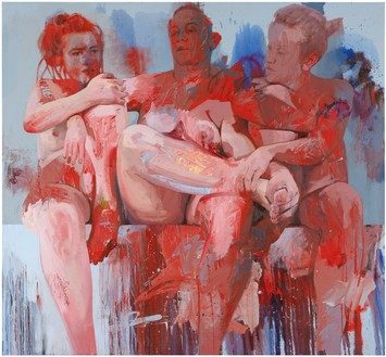 Jenny Saville, Red Fates, 2018 Oil on canvas, 94 ½ × 102 ⅜ inches (240 × 260 cm)© Jenny Saville