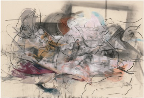 Jenny Saville, Oxyrhynchus, 2012–14 Pastel and charcoal on canvas, 67 × 98 ½ inches (170 × 250 cm)© Jenny Saville