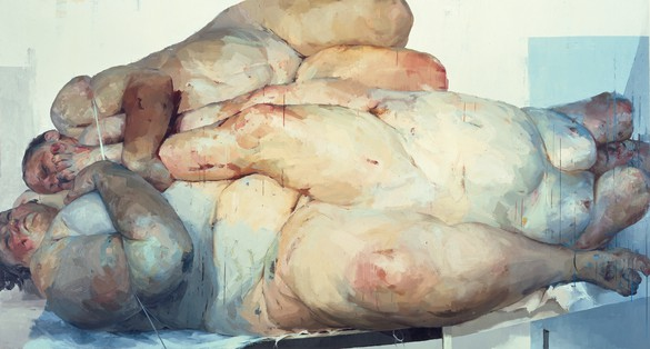 Jenny Saville, Fulcrum, 1998–99 Oil on canvas, 103 × 192 inches (261.6 × 487.7 cm)© Jenny Saville