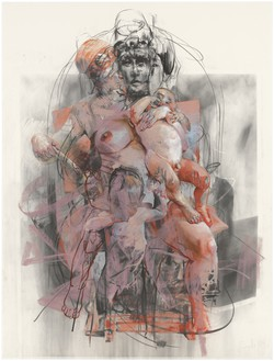 Jenny Saville, Study for Isis and Horus, 2011 Charcoal and pastel on paper, 78 × 58 ¼ inches (198 × 148 cm)© Jenny Saville