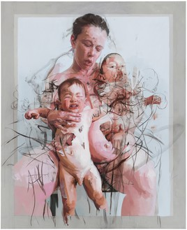 Jenny Saville, The Mothers, 2011 Oil and charcoal on canvas, 106 ⅜ × 86 ⅝ inches (270 × 220 cm)© Jenny Saville