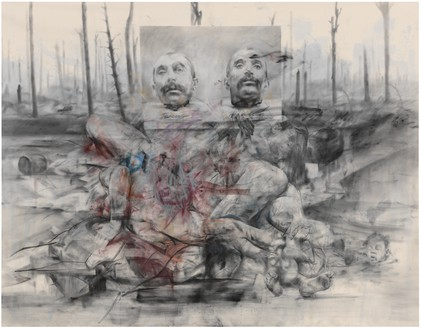 Jenny Saville, Voice of the Shuttle (Philomela), 2014–15 Pastel and charcoal on canvas, 110 ¼ × 141 ¾ inches (280 × 360 cm)© Jenny Saville