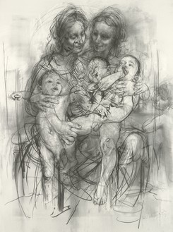 Jenny Saville, Reproduction drawing IV (after the Leonardo cartoon), 2010 Charcoal on paper, 76 ⅜ × 57 ⅛ inches (194 × 145 cm)© Jenny Saville
