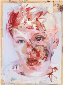 Jenny Saville, Red Stare Collage, 2007–09 Collage on board, 99 ¼ × 73 ¾ inches (252 × 187.3 cm)© Jenny Saville