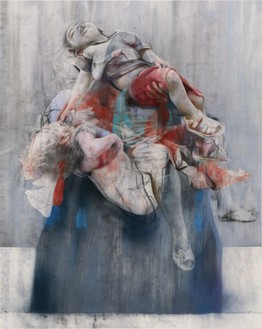 Jenny Saville, Aleppo, 2017–18 Pastel and charcoal on canvas, 78 ⅜ × 63 inches (200 × 160 cm)© Jenny Saville