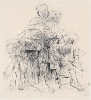 Jenny Saville, Chapter (for Linda Nochlin), 2016–18 Charcoal on cotton duck canvas, 102 ½ × 93 inches (260.4 × 236.2 cm)© Jenny Saville