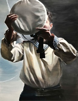 Jia Aili, The Cap Donning Man, 2018 Oil on canvas, 103 9/16 × 79 15/16 inches (263 × 203 cm)© Jia Aili