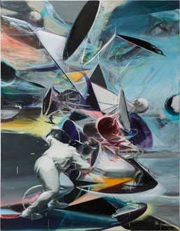 Jia Aili, Geometry in the sky, 2017 Oil on canvas, 106 5/16 × 82 11/16 inches (270 × 210 cm)© Jia Aili Studio. Courtesy Jia Aili Studio