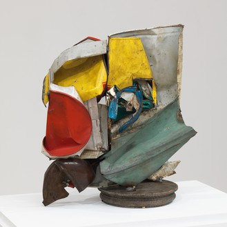John Chamberlain, Homer, 1960 Painted tin, with wood base, 16 × 13 ½ × 11 inches (40.6 × 34.3 × 27.9 cm)© 2018 Fairweather & Fairweather LTD/Artists Rights Society (ARS), New York