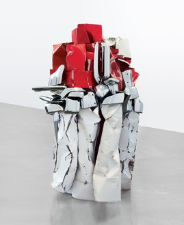 John Chamberlain, EUPHORIAINAHAT, 2010 Painted and chrome-plated steel, 92 × 67 ⅝ × 55 ¼ inches (233.7 × 171.8 × 140.3 cm)© 2018 Fairweather & Fairweather LTD/Artists Rights Society (ARS), New York