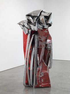 John Chamberlain, ENTIRELYFEARLESS, 2009 Painted and chrome-plated steel, 85 ½ × 44 ½ × 42 ¼ inches (217.2 × 113 × 107.3 cm)© 2018 Fairweather & Fairweather LTD/Artists Rights Society (ARS), New York