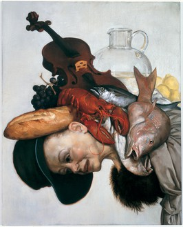 John Currin, The Lobster, 2001 Oil on canvas, 40 × 32 inches (101.6 × 81.3 cm)© John Currin