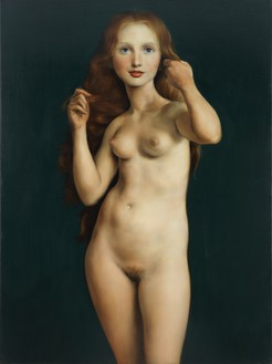 John Currin, Nude with Raised Arms, 1998 Oil on canvas, 46 × 34 inches (116.8 × 86.4 cm)© John Currin. Photo: Fred Scruton