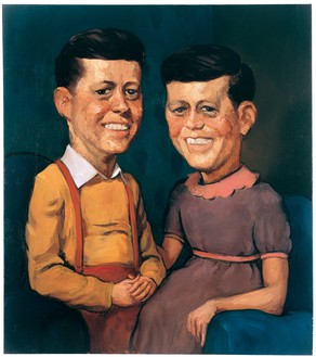 John Currin, The Kennedys, 1996 Oil on canvas, 36 × 32 inches (91.4 × 81.3 cm)© John Currin