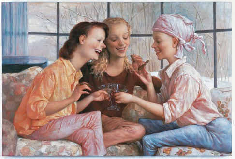John Currin, Stamford After-Brunch, 2000 Oil on canvas, 40 × 60 inches (101.6 × 152.4 cm)© John Currin