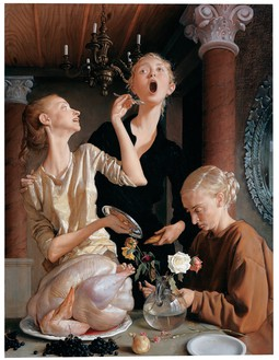 John Currin, Thanksgiving, 2003 Oil on canvas, 68 × 52 inches (172.7 × 132.1 cm)© John Currin
