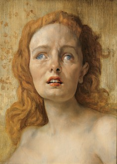 John Currin, The Clairvoyant, 2001 Oil on canvas, 22 × 16 inches (55.9 × 40.6 cm)© John Currin