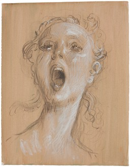 John Currin, Untitled, 2013 Charcoal and chalk on paper, 17 ⅞ × 13 ⅞ inches (45.4 × 35.2 cm)© John Currin