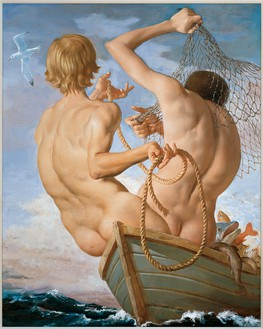 John Currin, Fishermen, 2002 Oil on canvas, 50 × 41 inches (127 × 104.1 cm)© John Currin