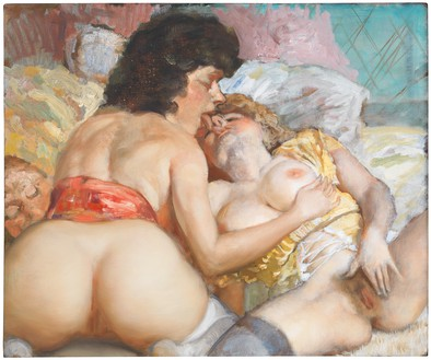 John Currin, A Fool with Two Young Women, 2013 Oil on canvas, 19 ⅞ × 24 inches (50.5 × 61 cm)© John Currin