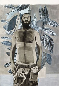 Jonas Wood, Untitled (BW Self Portrait), 2008 Ink and gesso on paper, 56 × 41 ½ inches (142.2 × 105.4 cm)© Jonas Wood
