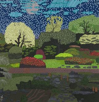 Jonas Wood, Japanese Garden with Moon and Stars, 2020 Oil and acrylic on canvas, 72 × 70 inches (182.9 × 177.8 cm)© Jonas Wood