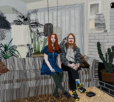 Jonas Wood, Leslie and Michael, 2013 Oil and acrylic on canvas, 80 × 90 inches (203.2 × 228.6 cm)© Jonas Wood