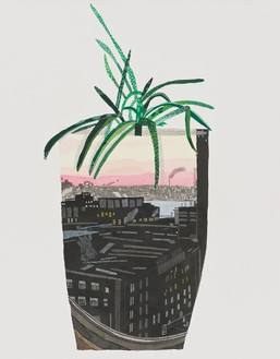 Jonas Wood, Maritime Sunset Landscape Pot, 2014 Ink, gouache, and colored pencil on paper, 28 × 22 inches (71.1 × 55.9 cm)© Jonas Wood
