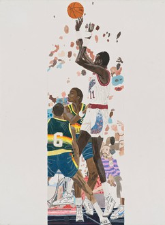 Jonas Wood, Manute Jumper, 2014 Gouache, colored pencil, and collage on paper, 41 ½ × 30 ⅜ inches (105.4 × 77.2 cm)© Jonas Wood