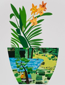 Jonas Wood, Landscape Pot with Yellow Orchid, 2014 Oil and acrylic on canvas, 118 × 90 inches (299.7 × 228.6 cm)© Jonas Wood