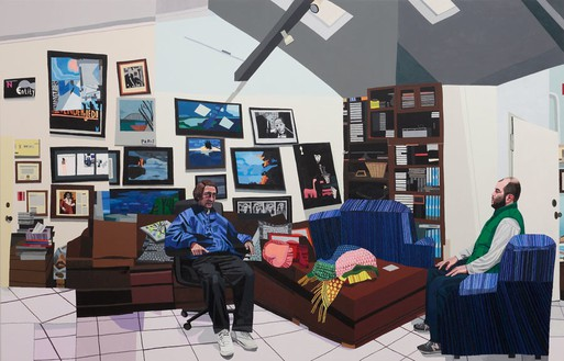 Jonas Wood, The Hypnotist, 2011 Oil and acrylic on canvas, 108 × 168 inches (274.3 × 426.7 cm)© Jonas Wood