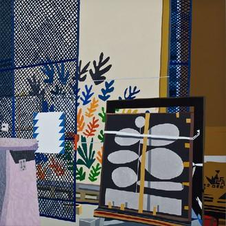 Jonas Wood, Hammer Storage, 2011 Oil and acrylic on linen, 82 × 82 inches (208.3 × 208.3 cm)© Jonas Wood