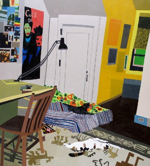 Jonas Wood, Alexis's Room, 2009 Oil on canvas, 66 × 60 inches (167.6 × 152.4 cm)© Jonas Wood