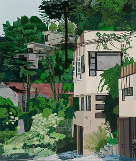 Jonas Wood, Schindler Apts, 2013 Oil and acrylic on canvas, 132 × 112 inches (335.3 × 284.5 cm)© Jonas Wood