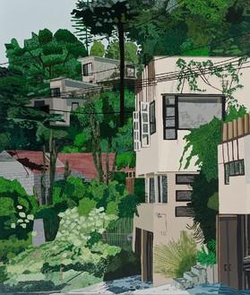 Jonas Wood, Schindler Apts, 2013 Oil and acrylic on canvas, 132 × 112 inches (335.3 × 284.5 cm)© Jonas Wood