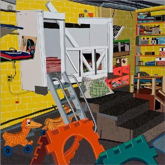 Jonas Wood, Children's Garden, 2015 Oil and acrylic on canvas, 93 × 93 inches (236.2 × 236.2 cm)© Jonas Wood