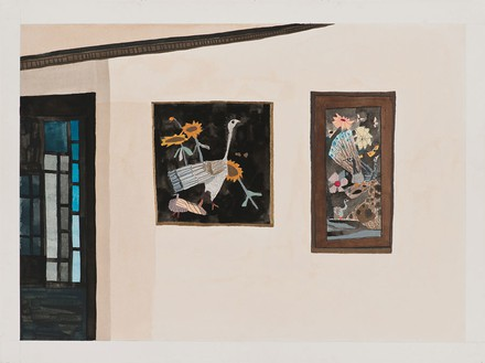 Jonas Wood, TV Room 2, 2007 Gouache and colored pencil on paper, 23 × 30 ⅜ inches (58.4 × 77.2 cm)© Jonas Wood