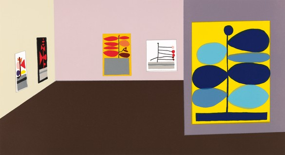 Jonas Wood, Hammer Interior, 2016 18-color letterpress print on Crane Lettra paper, 11 ¼ × 20 ¾ inches (28.6 × 52.7 cm), edition of 20 + 10 AP© Jonas Wood. Photo: Brian Forrest