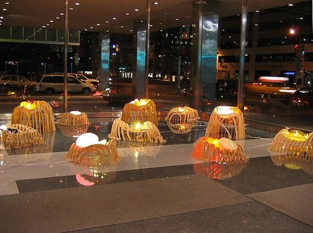 Jorge Pardo, Untitled, 2003 Birch plywood, blown glass, electric lights and wiring, and ink, enamel, and varnish on vellum, dimensions variableInstallation view, Lever House, New York© Jorge Pardo