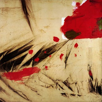 Julian Schnabel, Hurricane Bob (Piz Palu), 1991 Oil and gesso on tarpaulin, 180 × 180 inches (457.2 × 457.2 cm)