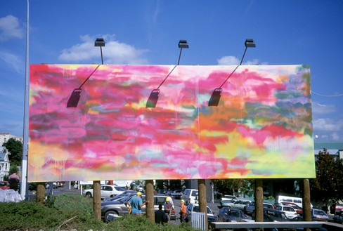 Katharina Grosse, Untitled, 2001 Acrylic on billboard, 14 feet 9 ¼ inches × 39 feet 4 ⅜ inches (4.5 × 12 m), Auckland, New Zealand, 2001© Katharina Grosse und VG Bild-Kunst, Bonn, 2018. Photo: Katharina Grosse