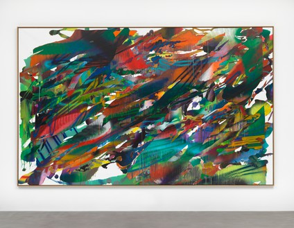 Katharina Grosse, Untitled, 2015 Acrylic on canvas, 94 ½ × 152 ¾ inches (240 × 388 cm)© Katharina Grosse und VG Bild-Kunst Bonn, 2018. Photo: Olaf Bergmann