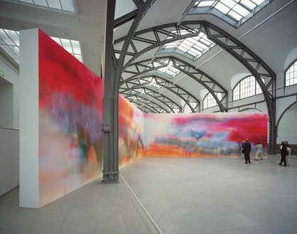 Katharina Grosse, Untitled, 2000 Acrylic on wall, 14 feet 9 ¼ inches × 39 feet 4 ⅜ inches (4.5 × 14.5 × 12.5 m), Nationalgalerie im Hamburger Bahnhof, Germany, 2001© Katharina Grosse und VG Bild-Kunst, Bonn, 2018. Photo: Werner Hannappel
