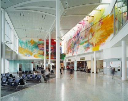 Katharina Grosse, Untitled, 2003 Acrylic on wall, 29 feet ⅜ inches × 57 feet 5 inches × 77 feet 1 ¼ inches (8.9 × 17.5 × 23.5 m), Pearson International Airport, Toronto© Katharina Grosse und VG Bild-Kunst, Bonn, 2018. Photo: Isaac Applebaum
